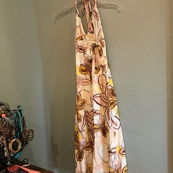 Dresses & Skirts - Cream Flower Halter Maxi Dress
